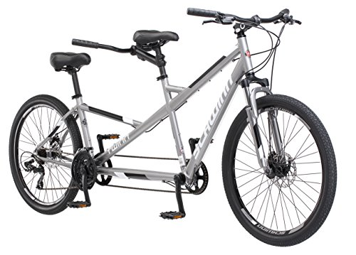 Schwinn Twinn Tandem Bicycle, Featuring Low Step-Through and Lightweight Aluminum Frame with Mechanical Disc Brakes, 26-Inch Wheels, Medium Frame Size, Grey