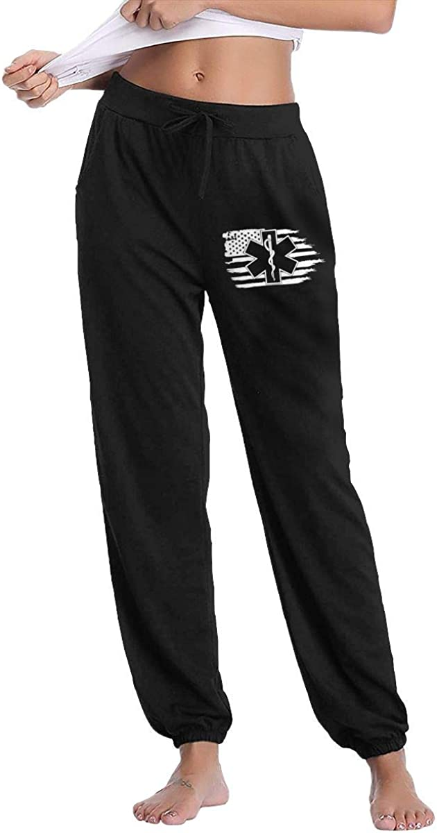 LNGCUNHAA American Flag EMS Star of Life EMT Paramedic Medic Womans Motion Sweat Pants