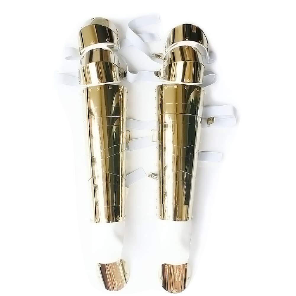 MJ Michael Jackson Costume History Tour Handmade Golden Metal Leg Armor Kneepads for Party Concert Stage Dance Ballroom (Golden)