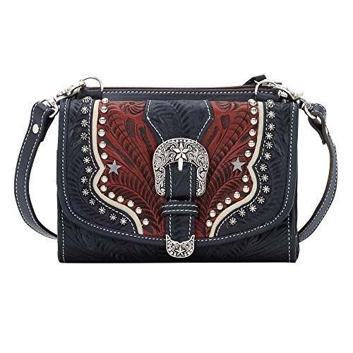 7694982 American West Women's Texas Two Step Purse - Navy Blue by American West
