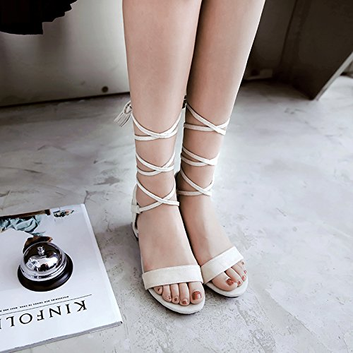 Mee Shoes Women's Fashion Lace Up Block Heel High Heel Sandals Shoes Off white y1KO3jXDc