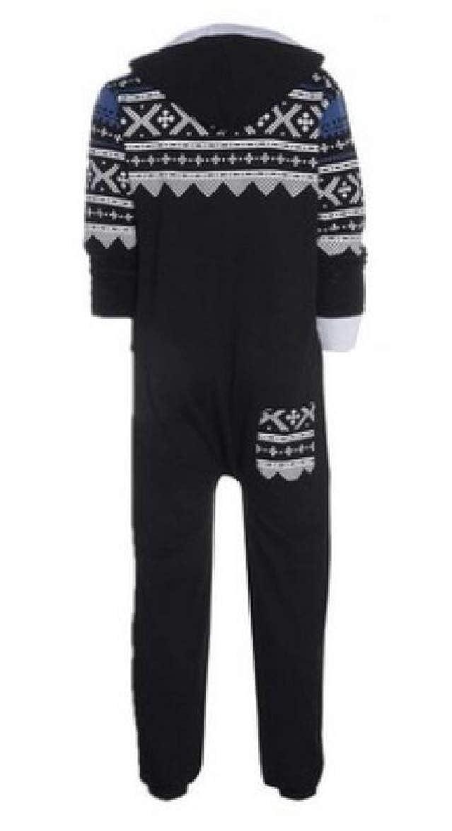 RRINSINS Mens Adult Onesie Snowflake Loungewear Zip Up Hooded Nightwear Jumpsuit Pajama