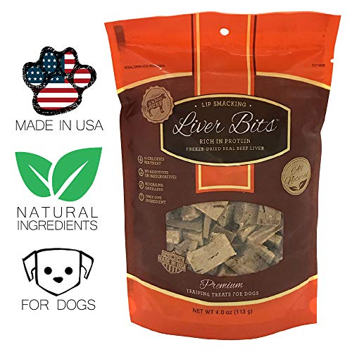 Liver Bits Treats for Dogs - Freeze Dried Training Treats - 100% Natural Raw Beef Liver - High in Protein 4 oz