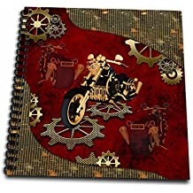 3dRose Heike Köhnen Design Steampunk - Steampunk, awesome motorcycle with gears - Memory Book 12 x 12 inch (db_254556_2)