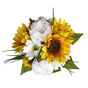 Sunflower Peony Daisy Silk Flower Bridal Bouquet with Long Satin Streamers 57