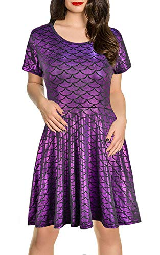 (Halloween Womens Costumes Shiny Short Sleeve Costume A-Line Mermaid Party Wear Purple)