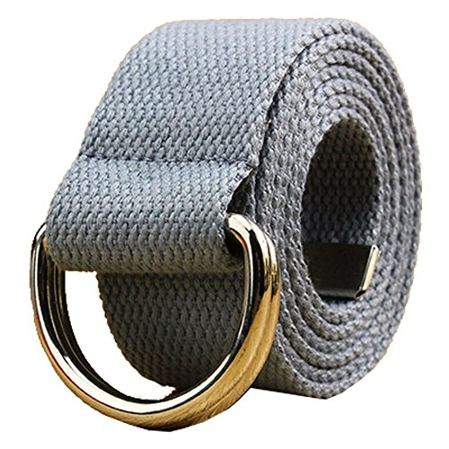[Canvas Web Belt Double D-ring Buckle 1 1/2 Inch Wide 42 Inch Long with Metal Tip Solid Color Grey] (Grey Belt Buckle)