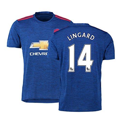 FC Football Jersey Manchester United Soccer Jersey Away Shirt 2016-17 Mens #14 Lingard Blue S