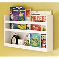 Childrens Kids Room Wall Shelf Wood Material Great For Bunk Bed Nursery Room Books and Toys Organization Storage (White)