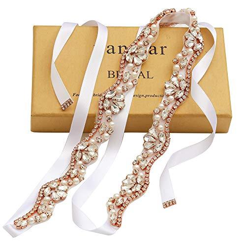 yanstar Hand Rose Gold Rhinestone Crystal Pearls Wedding Bridal Belts with White Ribbon Sashes for Bridal Bridesmaid Gowns ()