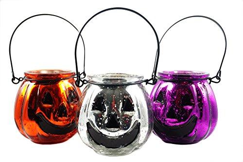 Jack O-lantern Tealight Holder (Halloween Jack O Lantern Mercury Glass Tealight Holder Set of 3)