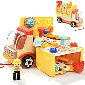 Toddler Toys Tool Set Kids STEM Workbench Workshop Truck Wooden Construction Pretend Play For Boys With Realistic Tools