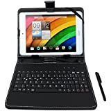 "DURAGADGET Black Faux Leather Stand Case with Micro USB German Keyboard & Built-in Stand + Bonus Stylus Pen for Acer Iconia A1-830 / Acer Iconia W4-820 8.1"" / Acer Iconia W3 / Acer Iconia A1"