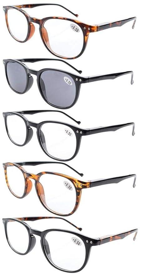 Pack de 5 primavera bisagras estilo lectura gafas sol lectores (Mixto, +0.50)