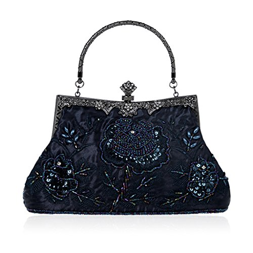 Jagenie Blue Style Floral Bag Evening Purse Wedding Prom Party Clutch Handbag Vintage Dark Beaded Green 6Fr5wq6
