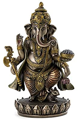 Top Collection Ganesh Statue - Lord of Success Ganesha Hindu God Sculpture in Premium Cold Cast Bronze - 7.6-Inch Collectible New Age Figurine