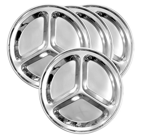 (Round Stainless Steel Divided Plates (4-Pack); 9.5-Inch 3-Section Divided Plates for Kids, Camping, Mess Trays & More)