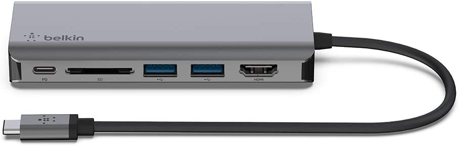 Belkin USB C Hub, 6-in-1MultiPortAdapter Dock with 4K HDMI, USB-C 100W PD Pass-Through Charging, 2 x USB A, Gigabit Ethernet Ports and SD Slot for MacBook Pro, Air, iPad Pro, XPS and More