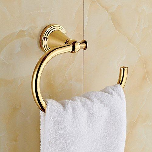 Rozinsanitary Gold Finish Wall Mounted Towel Hook Bath Towel Ring Rack