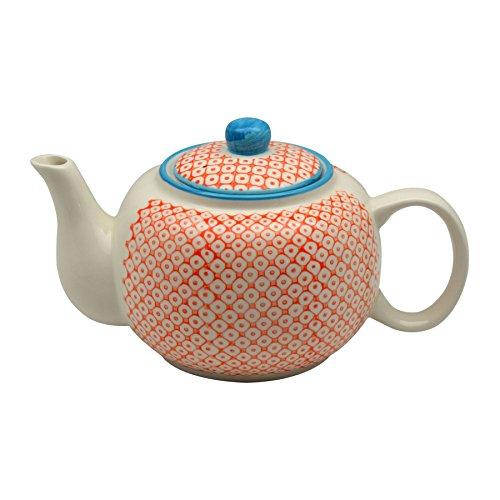 Nicola Spring Patterned Porcelain Teapot - 820ml  - Orange P