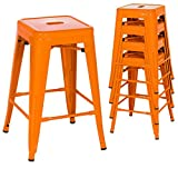 Classic Style Kitchen Dining Room Chair Stackable Backless Solid Metal Seat Set Of 4 Metal Barstools Indoor Outdoor Counter/Orange #1046