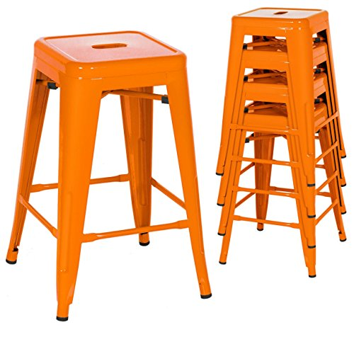 Classic Style Kitchen Dining Room Chair Stackable Backless Solid Metal Seat Set Of 4 Metal Barstools Indoor Outdoor Counter/Orange #1046 (Replacement Cushions For Outdoor Furniture Melbourne)