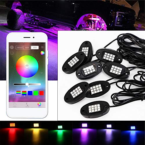 8PCs Black RGB LED Under Body Li...