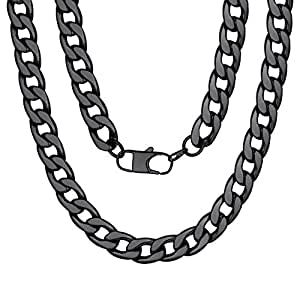 Curb Link Chain Necklace for Men 12mm 18 inch Rapper Chunky Jewelry Gift Black