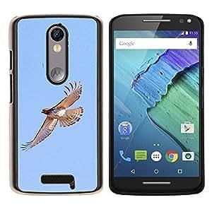 KLONGSHOP // Cubierta de piel con cierre a presión Shell trasero duro de goma Protección Caso - las aves de vuelo halcón azul alas cielo naturaleza - Motorola Moto X3 3rd Generation //