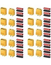 AUTOUTLET 20 st 10 par XT60 kulkontakter pluggar man och kvinna med värmekrympning för RC bil/båt/LiPo batteri