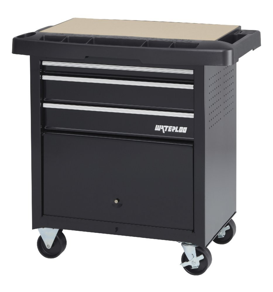 Waterloo 3-Drawer Project Center with Bulk Storage Area - Designed, Engineered and Assembled in the USA