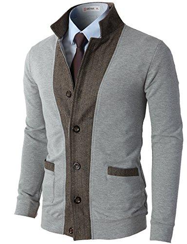 H2H Mens Two-tone Herringbone Jacket Cardigans LIGHTGRAY US S/Asia M (JLSK03) (Wool Dress Pants Men)