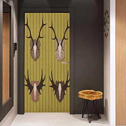 Onefzc Automatic Door Sticker Hunting Deer and Moose Horns Trophy on Striped Background Mountain Cottage Print Easy-to-Clean, Durable W31 x H79 Khaki Multicolor ()