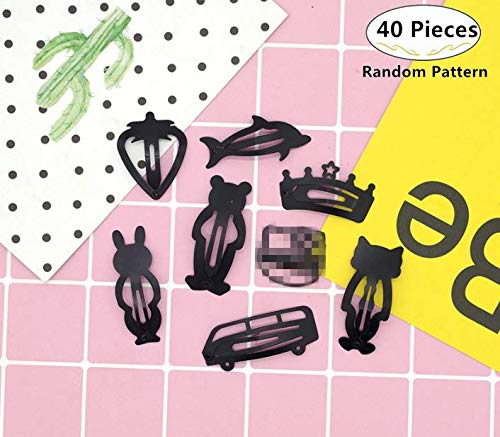40 Pieces Hair Snap Clips, Magnoloran Non-slip Metal Hair Barrettes Snap Hairpin Hair Accessories for Babies Girls Toddlers Children Kids Teens