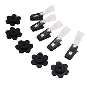 EKEV 10 Pack Garden Flag Rubber Stoppers and Adjustable Anti-Wind Clips - Flag Stops Accessories for Garden Flag Poles Stand