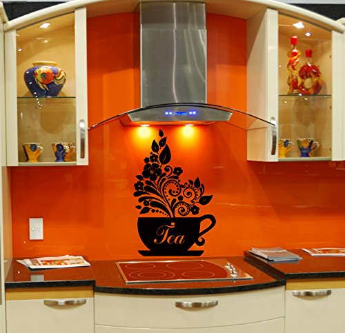Wall Vinyl Sticker Decal Art Design Tea Cup for Kitchen Cafe Room Nice Picture Decor Hall Wall Chu193