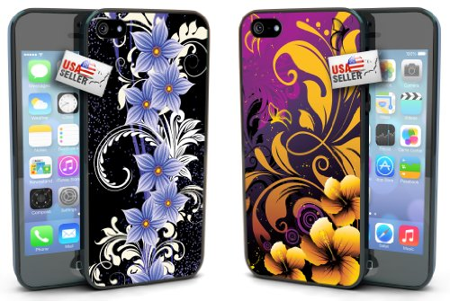 Flowers Black Purple Gold Design COMBO TWO PACK for iPhone 4 or 4s