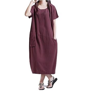 Janly Woman Dresses, Women Loose Cotton Linen Pocket Long Dress Ladies Boho Casual Short Sleeve