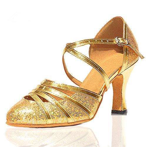 Latino Zapatos Altura de Shangyi Baile cm para Mujeres Zapatos Danza Zapatos de Baotou Baile con de Oro una de Zapatos Cuadrados de Moderna Baile 6 fIfwqdR