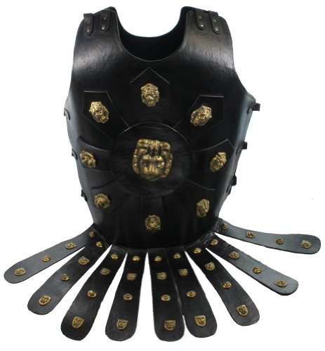 Roman Soldier Breastplate Costume (RedSkyTrader Mens Lion head Chest Plate Armor - Leather One Size Fits Most Black)
