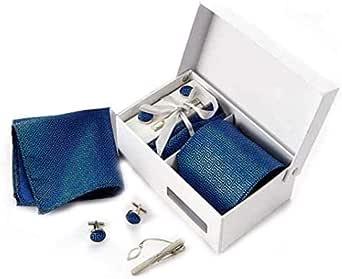 Blue silk satin Men fashion business necktie set with cufflink Kerchief bow tie clip