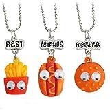 hamburger hot dog - MJartoria Best Friends Forever Hamburger Hot Dog Friendship Necklaces Set of 3
