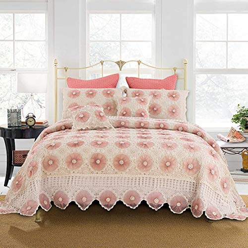 HLSH Bedding 5 Piece Lace Quilted Quilt Set Manual Crochet Bedspread for All Season (Includes Bed Cover × 1, Pillowcase × 2, Pillow × 2)-saucepink