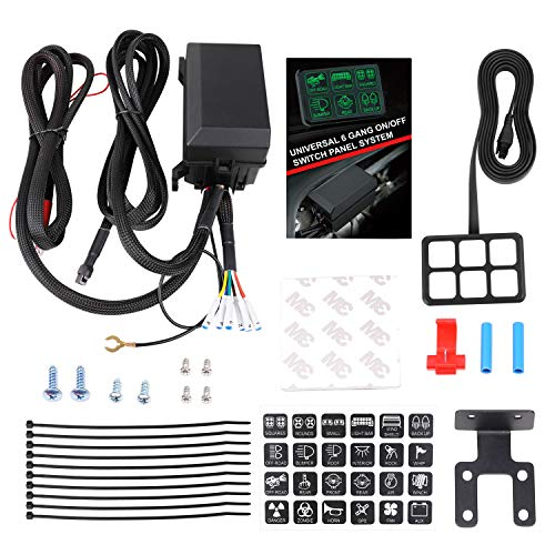 (6 Gang Switch Panel, Wayup Universal Circuit Control Box Electronic Relay System Button Switch Fuse Relay Box with Wiring Harness Assemblies for Truck Marine Boat Jeep Car ATV UTV SUV)