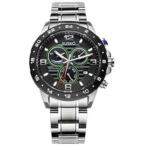 Jiusko Mens Multifunction Silver-Tone Stainless Steel Watch by JIUSKO
