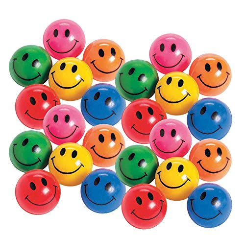 Rubber Smile Face Bouncing Balls - Pack of 24 - 1 Inch Assorted Colors - Mini Smiley Hi-Bounce Balls – for Kids Boys and Girls Great Party Favors, Bag Stuffers, Fun, Toy, Gift, Prize – by Kidsco -