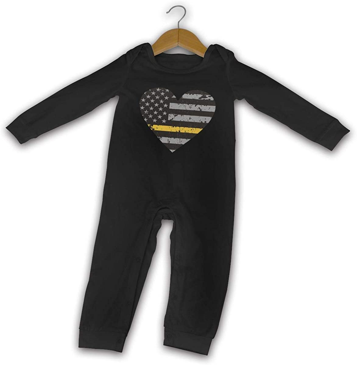 YELTY6F Thin Gold Line Dispatcher Distressed Flag Heart Printed Newborn Baby Boy Girl Jumpsuit Long Sleeve Outfits Black