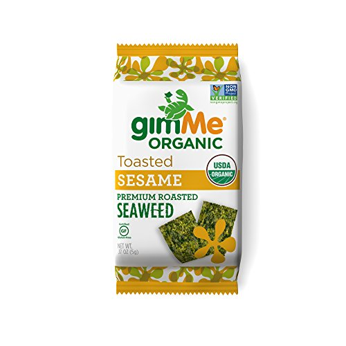gimMe Snacks Organic Roasted Seaweed Snacks, Sesame, 0.17 Ounce (Pack of 12)