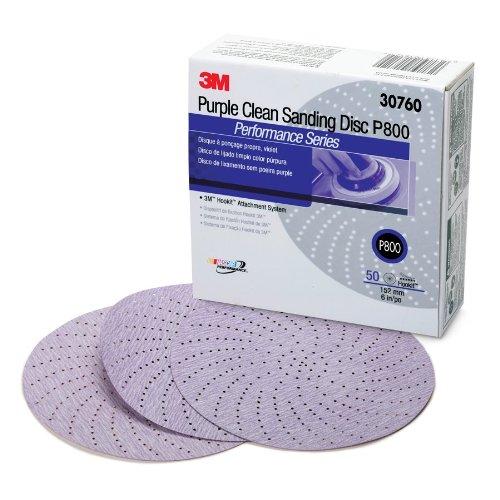 3M 30760 Hookit 334U Purple 6'' P800 Grit Clean Sanding Disc (Pack of 4)