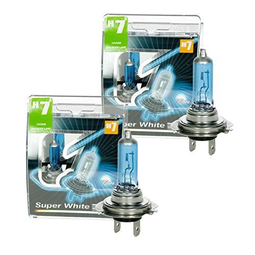 ECD Germany 4er Pack Halogen Lampe H7 12V 55W 8500K mit E-Prü fzeichen Xenon Optik Glü hbirne Glü hlampe Scheinwerferlampe Autolampe